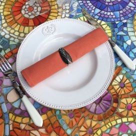 "Cotton table napkin ""Coucke"", plain paprika"