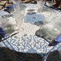 """Serviette de table en coton uni  """"Bleu Lin"""""""