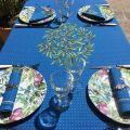 """Nappe provençale carrée placée en coton """"Nyons"""" bleu"""