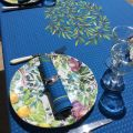"Square centred cotton tablecloth ""Nyons"" blue"