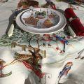 "Tessitura Toscana Tellerie, rectangular coton tablecloth ""Snowy Christmas"""