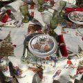 "Tessitura Toscana Telerie, nappe carrée en coton ""Snowy Christmas"""
