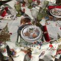 "Tessitura Toscana Tellerie, square coton tablecloth ""Snowy Christmas"""