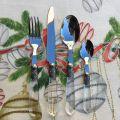 """Couverts (Ménagère 48 pièces) inox et plastique """"Baroque"""" transparent, Côté Table"""