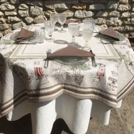 "Rectangular Jacquard tablecloth olivier et buis ""Gordes"" by Marat d'Avignon"