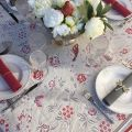 """Square Jacquard tablecloth """"Bagatelle"""" grey and griotte"""