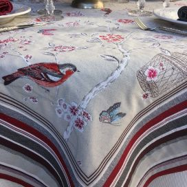 "Square Jacquard tablecloth ""Bagatelle"" grey and griotte"