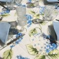 """Voile de table carré en Organza """"Hortensias"""" bleu"""