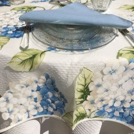 "Square organza tablecloth, blue hydrangeas ""Hortensias"""