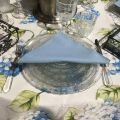 "Square organza tableclotn blue hydrengeas ""Hortensias"""