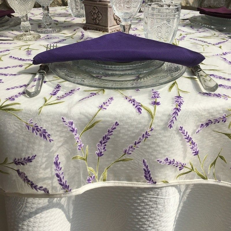 "Square organza tablecloth ""Lavandes"""