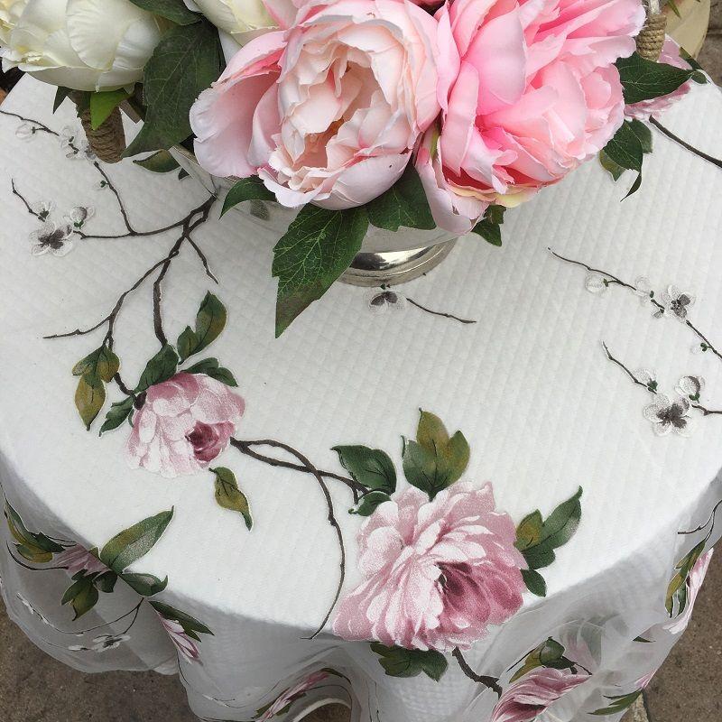 """Nappe carrée en Organza """"Carmina"""" roses"""