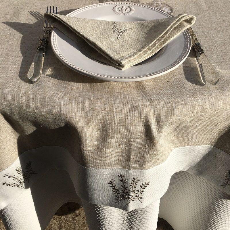 """Nappe lin et polyester """"Lavandes brodéés"""" lin bordure blanche"""