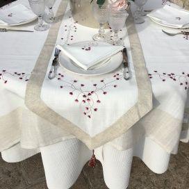 """Nappe rectangulaire lin et polyester """"Fleurs roses"""" blanc bordure lin"""
