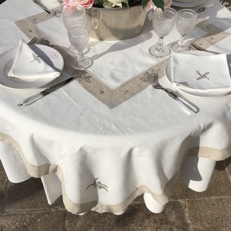 "Rectangular linen and polyester tablecloth ""Cigale et olives"" white and linen bordure"