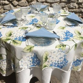 "Voile de table en Organza ""Hortensias"" bleu"