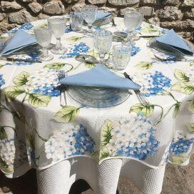 "Organza tablecloth, blue hydrangeas ""Hortensias"""