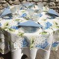 """Nappe rectangulaire en organza """"Hortensias"""" bleu"""