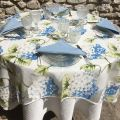 "Rectangular organza tablecloth, blue hydrangeas ""Hortensias"""
