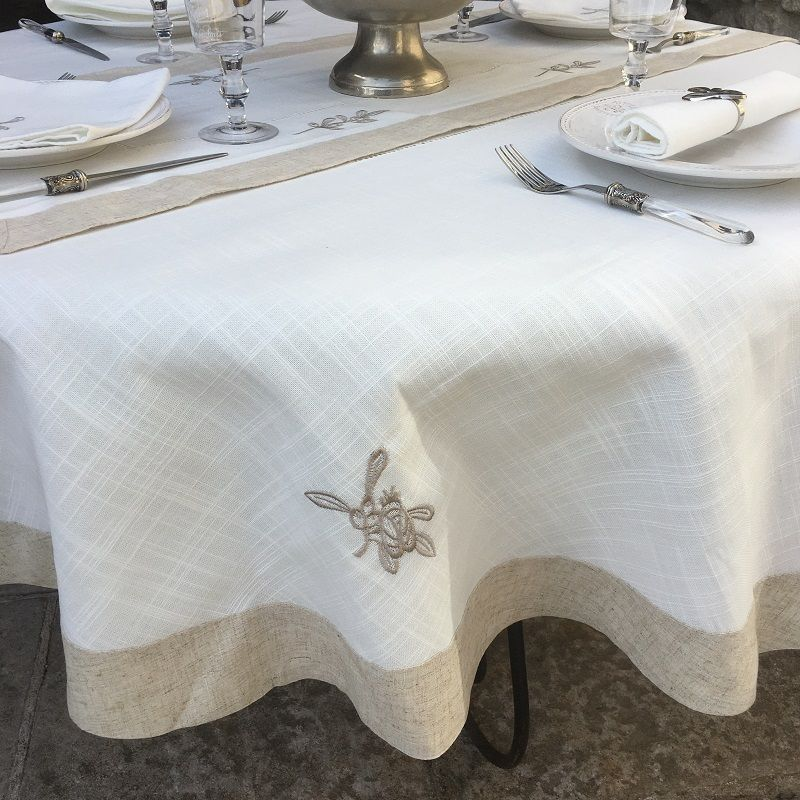 """Round linen and polyester tablecloth """"Cigale et olives"""" white and linen bordure"""