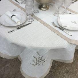 """Nappe carrée lin et polyester """"Lavandes brodéés"""" blanche et bordure lin"""