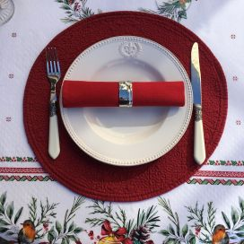 "Round table mats, Boutis fashion ""Mirabelle"" red color by Sud-Etoffe"