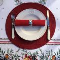 "Set de table rond en Boutis ""Mirabelle"" rouge, Sud-Etoffe"