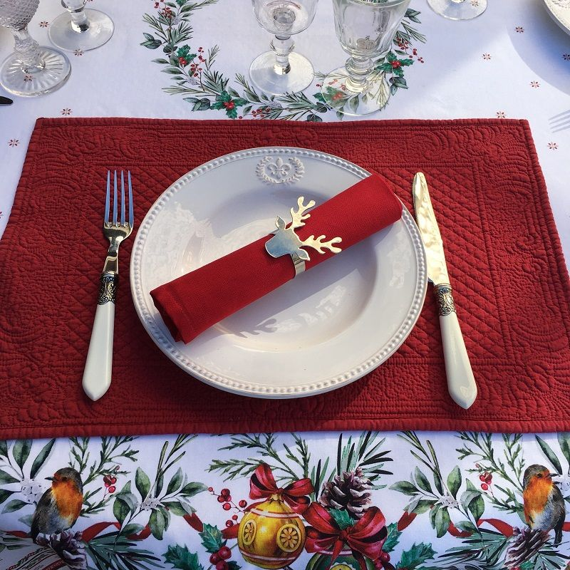 """Boutis placemats """"Calliope"""" Sud Etoffe Red"""