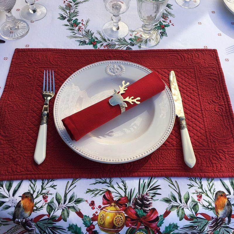 """Set de table en boutis """"Calliope"""" Sud Etoffe rouge"""