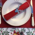 "Set de table en boutis ""Calliope"" Sud Etoffe rouge"