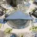 """Voile de table en Organza """"Hortensias"""" bleu"""