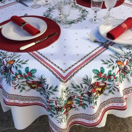 """Rectangular christmas tablecloth in cotton """"Sylvestre"""" white and red"""