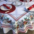 "Rectangular christmas tablecloth in cotton ""Sylvestre"" white and red"