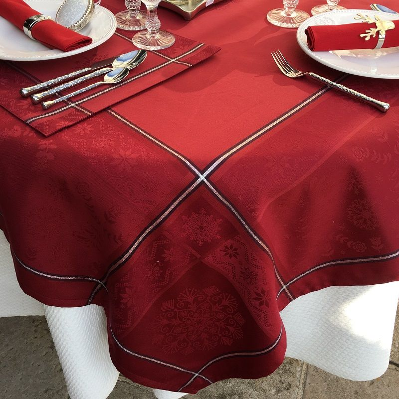 """Rectangular Jacquard polyester tablecloth """"Natif"""" red and silver from """"Sud Etoffe"""""""