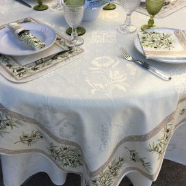 "Rectangular damask jacquard tablecloth Delft,  bordure ""Clos des Oliviers"" ecru"