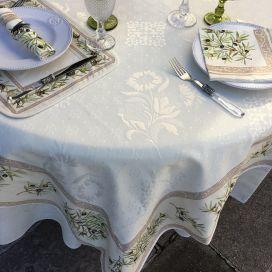 """Square Jacquard tablecloth Delft, bordure """"Clos des Oliviers"""" ecru"""