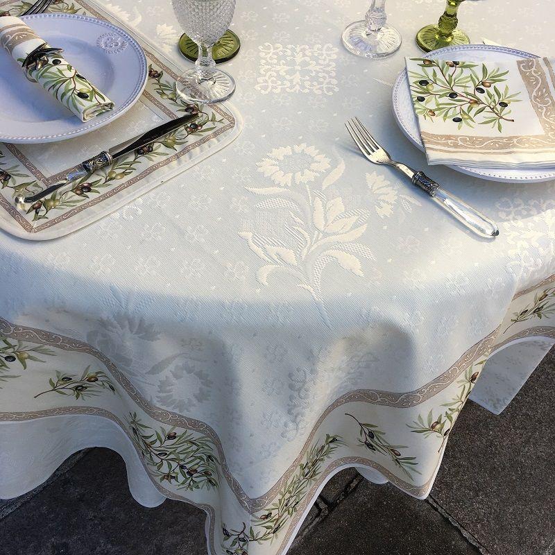 "Square damask jacquard tablecloth Delft,  bordure ""Clos des Oliviers"" ecru"