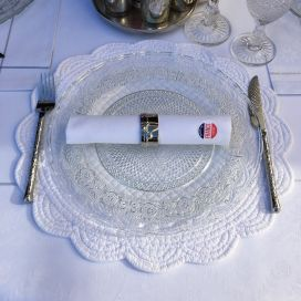 "Set de table rond en Boutis ""Rosace"" blanc"