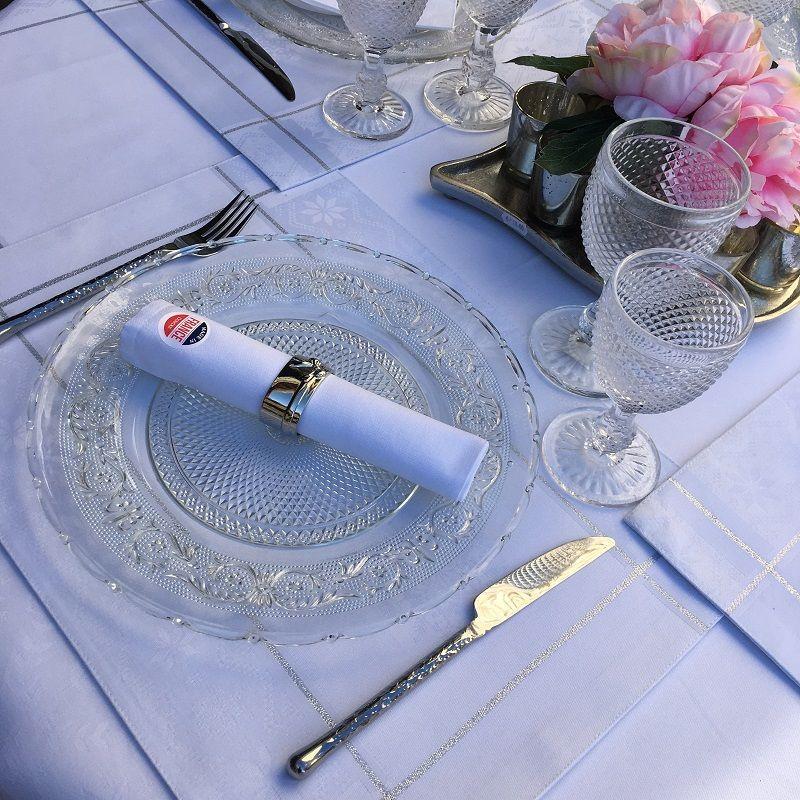 """Set de table Jacquard polyester """"Natif"""" blanc et argent, Sud Etoffe"""