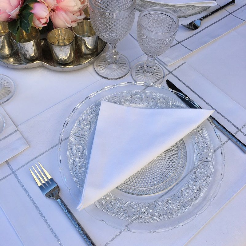 "Serviette de table en coton ""Coucke"" uni blanc"