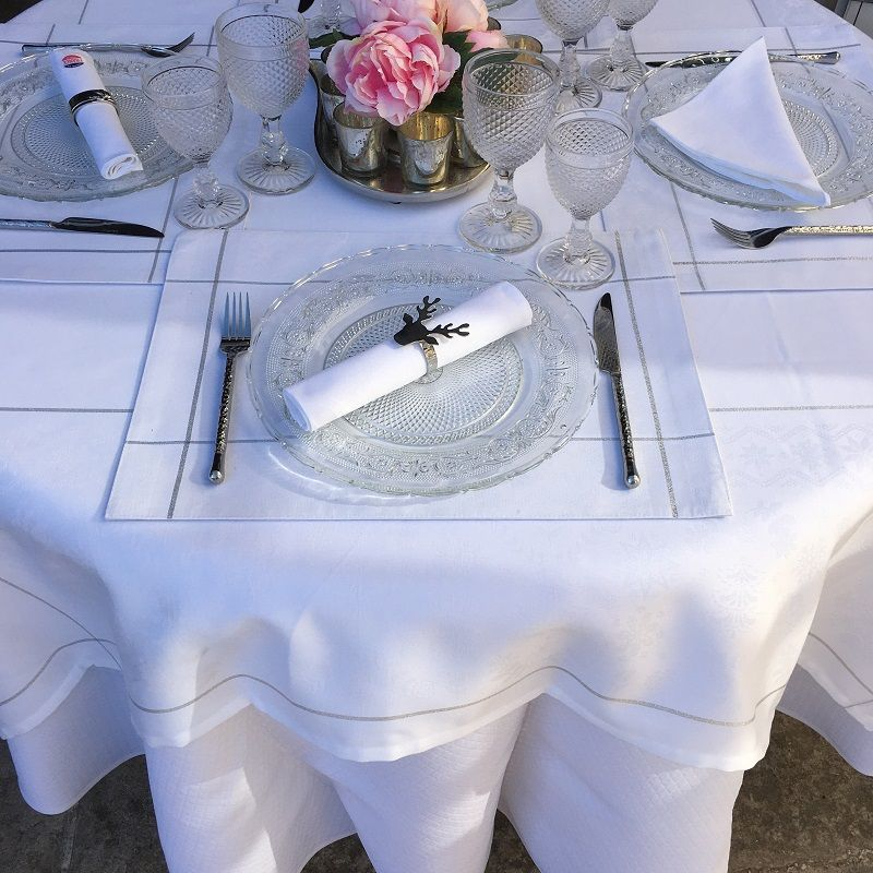 """Rectangular Jacquard polyester tablecloth """"Natif"""" white and silver from """"Sud Etoffe"""""""