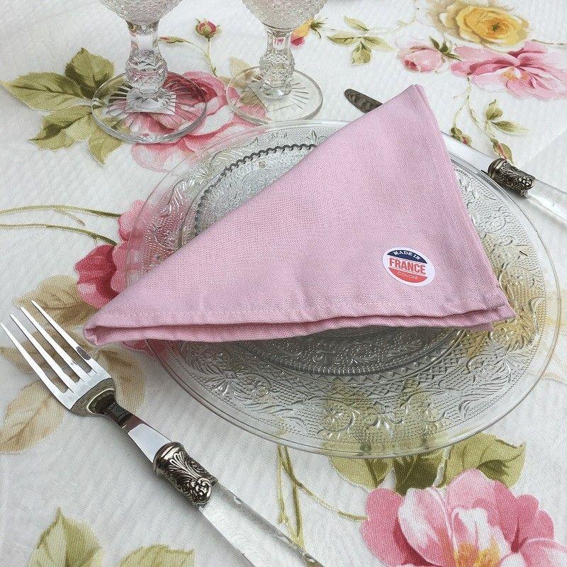 """Serviette de table en coton uni  """"Rose dragée"""""""