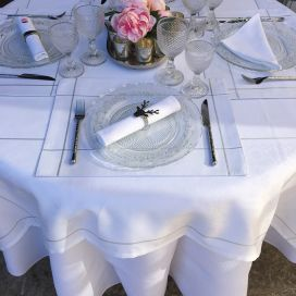 "Square Jacquard polyester tablecloth ""Natif"" white and silver from ""Sud Etoffe"""