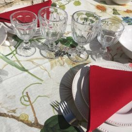 "Cotton table napkin""Coucke"" plain red ""Hermes"""