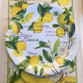 "Michel Design Works - ""LEMON BASIL"" Melanine large round platter"