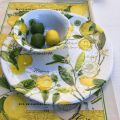 "Michel Design Works - ""LEMON BASIL"" Melanine large round platter"