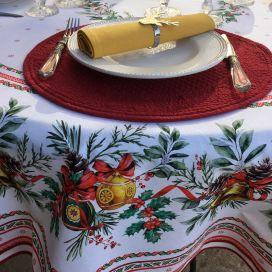 """Nappe de fêtes ronde en coton """"Sylvestre"""" blanc et rouge"""