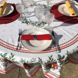 """Nappe de fêtes ronde en coton enduit """"Sylvestre"""" blanche et rouge"""