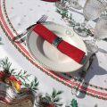 """Nappe de fêtes ronde en coton enduit """"Sylvestre"""" blanche er rouge"""