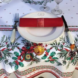 "Christmas rectangular coated cotton tablecloth ""Sylvestre"" white and red"